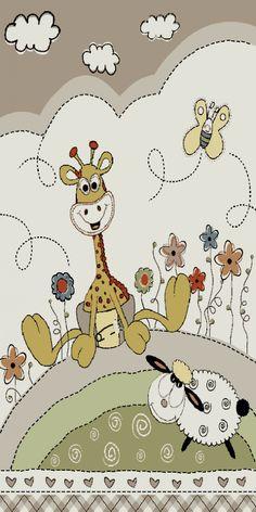Fresh Kinderteppich Kinderzimmer Konturenschnitt Baby Giraffe Beige Creme Pastellfarben Wohn und Schlafbereich