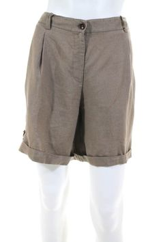 74b4e6fe19b83 Eileen Fisher Womens Shorts Size 12 Brown Linen Cuffed Zipper Fly Pockets  Pleats  fashion  clothing  shoes  accessories  womensclothing  shorts (ebay  link)