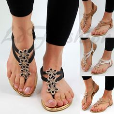 8cc5e49178f New Womens Flat Sandals Ankle Strap Toe Post Flower Embellished Summer Shoes