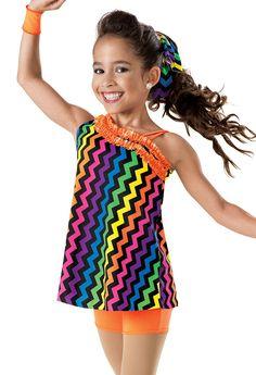 Rainbow Chevron Tunic Biketard -Weissman Costumes
