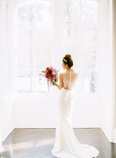 """@amsale """"Demi"""" - Fit to flare crepe gown with tailored seems and back detailing l  Sarah Beth Photography via @stylemepretty"""