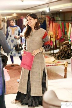 Brown khadi kurta with black skirt