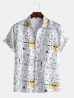 Men Fun Cartoon Animal Doodle Beach Short Sleeve Shirt is designer and cheap on Newchic. Cool Outfits, Casual Outfits, Themed Outfits, Loose Shirts, Shorts With Pockets, Look Cool, Aesthetic Clothes, Shirt Style, Casual Shirts