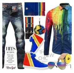 """""""*****RAINBOW*****"""" by selmir ❤ liked on Polyvore featuring PS Paul Smith, Gresham Blake, Fendi, Pierre Hardy, Ray-Ban, vintage, men's fashion, menswear, rainbow and polyvoreeditorial"""