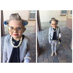 Dressed up as a 100 year old for the 100th day of school