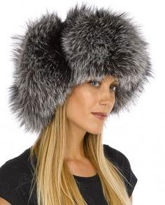 Ladies Silver Fox Full Fur Russian Hat