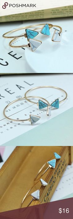 SALE!  Trendy Blue or White Arrow Cuff Bracelet This bracelet features a gold tone finish and your choice of either Turquoise/Blue or White arrow insets. These bracelets are super cute and won't last long! Limited Quantities! Bundle & Save! Jewelry Bracelets
