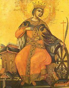 Icon of St. Catherine of Alexandria - St. Religious Images, Religious Icons, Religious Art, Byzantine Icons, Byzantine Art, Saint Catherine's Monastery, St Catherine Of Alexandria, Saint Katherine, Saints