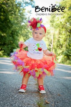 Elmo Birthday - Elmo Tutu - 3pc Elmo Petti Tutu Outfit - w/Child's Name and FREE Matching Flower Clip Headband - Long Sleeve. $50.95, via Etsy.