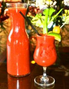 Every Sunday Brunch we make a pitcher of Lucille's Bloody Marys as well as fresh waffles, eggs Benedict.
