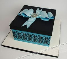 Blue and black damask gift box cake | by Design Cakes