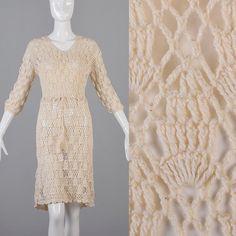 Vintage 70s Semi Sheer Open Crochet Dress Boho Hippie Beige Cream 3/4 Sleeve Summer Fall Drawstring Waist