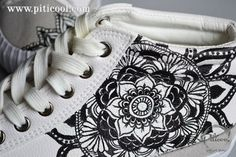 Tenisi pictati cu model Mandala   Handmade Piticool ART Model, Tennis, Mandalas, Scale Model, Models, Template, Pattern, Mockup