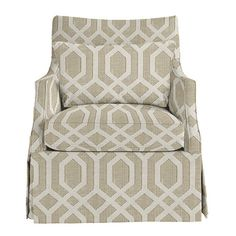 Larkin Swivel Glider- Ballard Designs-I like this fabric and the chair style Plywood Furniture, Sofa Furniture, Furniture Design, Swivel Glider Chair, Swivel Club Chairs, Dining Chairs, Chair Cushions, Teal Accent Chair, Accent Chairs