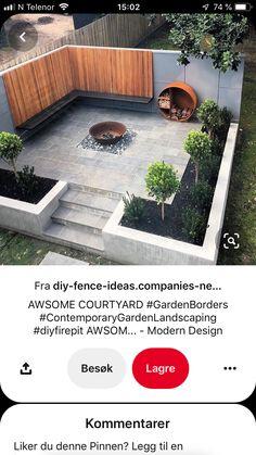 Diy Fence, Diy Fire Pit, Contemporary Garden, Garden Borders, Modern Design, Patio, Landscape, Outdoor Decor, Home Decor
