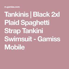 Tankinis | Black 2xl Plaid Spaghetti Strap Tankini Swimsuit - Gamiss Mobile