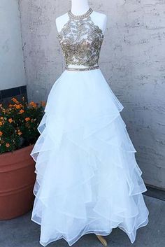 White tulle layer two pieces O neck long homecoming dress with lace and beading