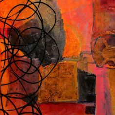 Layered acrylic abstract collage painting by Carol Nelson