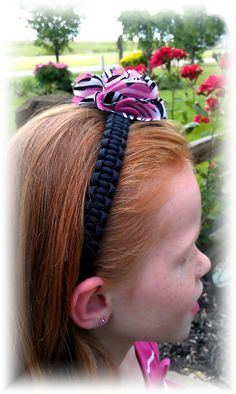Paracord Headband with a  Zebra Print Flower Attachment