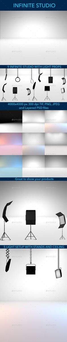 Buy Infinite Studio with Light Set up by octoST on GraphicRiver. Create a realistic studio product photoshoot with this 9 infinite studio backgrounds. Background Templates, Background S, Background Patterns, Background Images Wallpapers, Types Of Work, Different Light, Photo Studio, All Over The World, Infinite