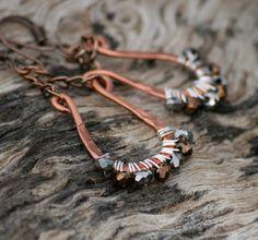 Copper Earrings Wire Wrapped Earrings Silver by EarthlyBaubles, $26.00