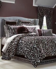 J Queen New York Sicily Plum Bedding Collection - Bedding Collections - Bed & Bath - Macy's Plum Comforter Set, Plum Bedding, Bedroom Comforter Sets, Queen Comforter Sets, Luxury Bedding Sets, Duvet Sets, Where To Buy Bedding, Queens New York, Bed Sizes