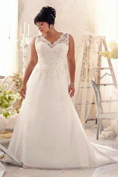 A-line V-neck Court Train Chiffon Fabric Plus Size Wedding Dresses With Lace Beading pw50561