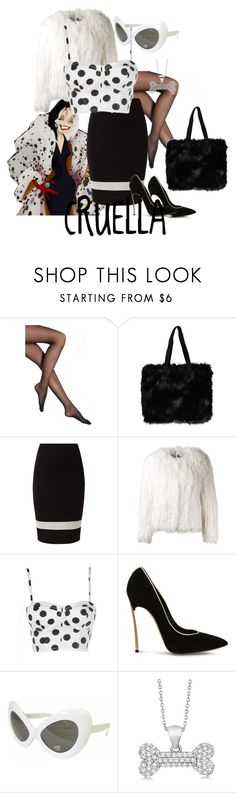 """Cruella DeVille"" by kaleighswords ❤ liked on Polyvore featuring Falke, Faux, Isabel Marant, Casadei, Retrò, Allurez, disney, character, 101Dalmations and CruellaDeville"