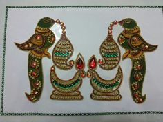 Kundan rangoli Rangoli Designs Images, Hobby Ideas, Thai Style, Traditional Sarees, House Decorations, Silk Thread, Stone Art, Creative Crafts, Indian Wear