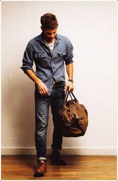 The Supernatual look , double denim, light blue denim shirt jeans / men fashion Rugged Style, Double Denim, Sharp Dressed Man, Well Dressed Men, Male Clothes, Stylish Men, Men Casual, Stylish Clothes, Style Brut