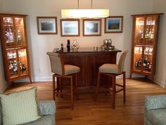 Custom Island, Bar Stools and Corner Cabinets.  From Pompanoosuc Mills.  American hardwood furniture.  Hand crafted in Vermont.
