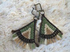 Green Macrame boho earrings, TEPEE design, tribal, ethnic, alternative fashion, spiritual jewelry, gift for woman, threads, tassel