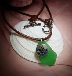 Kelly green genuine sea glass pendant with by SeaAndCakeDesigns