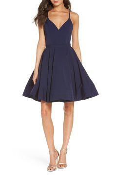 Fit & Flare Party Dress,                         Main,                         color, Navy