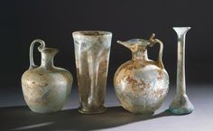 Glass vases uncovered in Pompeii, Campania, Italy. Roman Civilisation. Naples, Museo Archeologico Nazionale (Archaeological Museum)