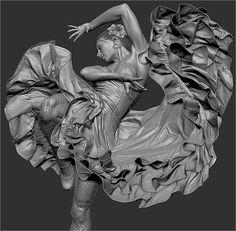 140725 flamenco final1 Zbrushと3dsMaxと無料の人物CGモデル生成ソフトMakehuman等で制作された、描き込みと物量が物凄い静止画作品『Flamenco』。制作過程の分かる簡単なメイキング付き!