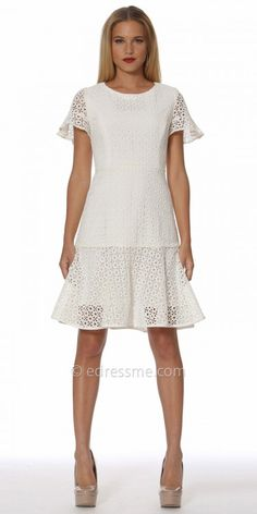 Show off your fabulous fashionista style in this must have Flutter Sleeve Laser Cut Flared Cocktail Dress by NUE by Shani. This adorable style features a flared bottom hemline with a piped detailing and a classic crew neckline. This dress also includes flutter sleeves for that extra touch of elegance. #edressme