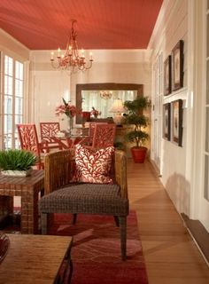 Accent neutral walls in your home, paint the ceiling a bright color!