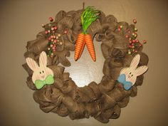 18 Easter Wreath made of burlap and Easter by WreathsbyJeanna, $60.00