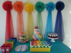 Amazing Rainbow party!    See more party ideas at CatchMyParty.com!  #partyideas #rainbow