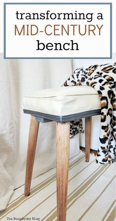 Mid Century Wooden Stool Makeover - The Boondocks Blog Diy Furniture Hacks, Upcycled Furniture, Furniture Makeover, Mcm Furniture, Mid Century Legs, Stool Makeover, Wooden Stools, Recycled Crafts, Diy Crafts