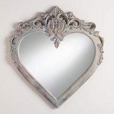 Carved Heart Mirror