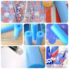 "Patriotic Pool Noodle Firecrackers!  Pool Noodles are those long skinny ubiquitous toys found near all ""swimming holes"" in the summer; genius mom who wrote this blog"