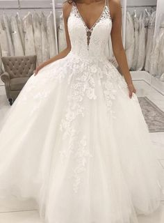 White v neck tulle lace long prom dress, white evening dress White v neck tulle lace long prom dress, white evening dress Princess Wedding Dresses Ball Gown Order Mori Lee Bridal Wedding Dress Style Katherine 8225 Yellow Wedding Guest Dresses, Gold Prom Dresses, Western Wedding Dresses, Top Wedding Dresses, Prom Dresses For Sale, Deb Dresses, Wrap Dresses, Party Dresses, Evening Dresses