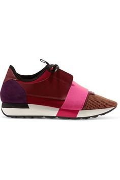 Balenciaga Race Runner Leather, Mesh, Suede And Neoprene Sneakers In Wine-red Balenciaga Basket, Balenciaga Shoes, Suede Leather Shoes, Leather Trainers, Real Leather, Colorful Sneakers, Colorful Shoes, Burgundy Sneakers, Suede Sneakers