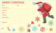 Santa With Gift Bag Certificate Template Christmangiftcard Christmasgiftcertificate Giftcard Giftcertificate