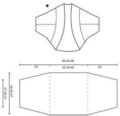 Ажурное болеро спицами с коротким рукавом - Выкройка 1