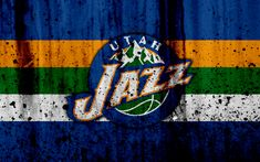 Download wallpapers 4k, Utah Jazz, grunge, NBA, basketball club, Western Conference, USA, emblem, stone texture, basketball, Northwest Division