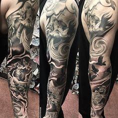Amazing artist Bryan Lavish @btweets angel tattoo sleeve full view! #bryanlavish #italy #italianartwork #calilife #california #angel #angeltattoo #finelineblackandgrey #blackandgrey #blackandgreytattoo #michelangelo #lilbtattoo #juncha #noahminuskin #orangecounty #miguelochoa #johnnyopina #tattoo #ink #bnginksociety #sullen #sullenclothing #igtattoo #igtattoos #igartwork #renaissance #photorealism #realism #worldofpencils #tattoosleeve