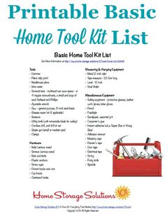 Free printable home tool kit list to make sure you have all the essential tools necessary for basic home repairs and improvements, courtesy of Home Storage Solutions 101